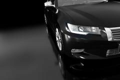 Modern svart metallisk sedanbil i strålkastare Generisk desing som är brandless Arkivbilder