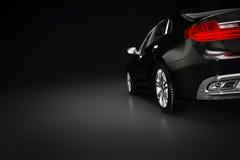 Modern svart metallisk sedanbil i strålkastare Generisk desing som är brandless Arkivfoto