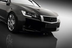 Modern svart metallisk sedanbil i strålkastare Generisk desing som är brandless Arkivbild