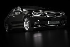 Modern svart metallisk sedanbil i strålkastare Generisk desing som är brandless Royaltyfria Bilder