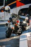 Modern svart motorcykel för polisen Royaltyfria Bilder