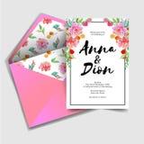 Modern sweet wedding invitation, rsvp watercolor flower stock illustration