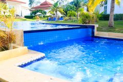 Modern Swimming pool relaxing time Stock Photo
