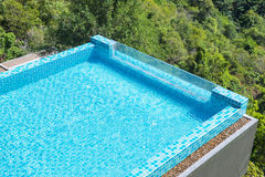 Modern swimming pool view from the top Stock Photos
