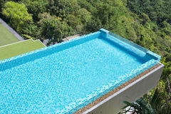 Modern swimming pool view from the top Royalty Free Stock Images