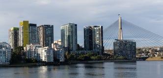 Modern Sydney apartment buildings on Sydney Harbour. Modern Sydney apartment buildings with Anzac Bridge in background Stock Image