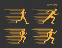 Modern  symbol for run. Gold set of silhouettes of runners. Vector figure runners. Stylish logo for running on black background Royalty Free Stock Photos