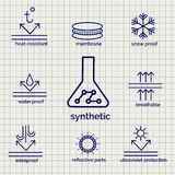 Modern syntetic fabric feature sketch icons. Modern syntetic fabric feature sketch ball pen icons on notebook page background. Vector illustration Royalty Free Stock Image