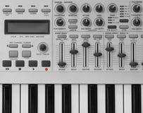Modern synthesizer. Synthesizer details, slides, knobs & keys royalty free stock image