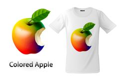 Modern t-shirt print design with colored bitten apple, use for sweatshirts and souvenirs, cases for mobile phones. Vector illustration stock illustration