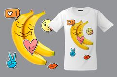 Modern t-shirt print design with funny bananas and emoticons, use for sweatshirts and souvenirs, cases for mobile phones. Vector illustration royalty free illustration