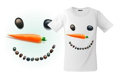 Modern t-shirt print design with funny snowman face, use for sweatshirts, souvenirs and other uses, vector illustration. stock illustration