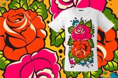 Modern t-shirtontwerp met bloemendruk in Russische stijl, gebruik voor sweatshirts en herinneringen, gevallen voor mobiele telefo Royalty-vrije Stock Foto