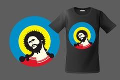 Modern t-shirtontwerp met portret van Jesus Christ, gebruik voor sweatshirts en herinneringen, gevallen voor mobiele telefoons, v Stock Fotografie