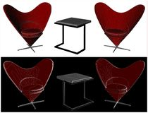 Modern Table and Armchairs In Shape Of Heart Vector 01 Royalty Free Stock Photo
