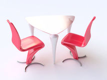 Modern Table and Chairs in Red and White Royalty Free Stock Photos
