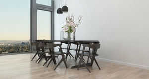 Modern Table and Chairs in Sparse Dining Room. Table and Chairs in Sparsely Decorated Dining Room in High Rise Condominium Building - Architectural Interior of Stock Image