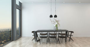 Modern Table and Chairs in Sparse Dining Room Stock Photo