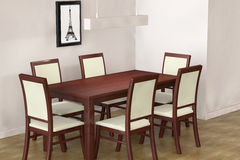 Modern Table and  chairs to face a blank wall Royalty Free Stock Images