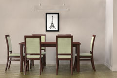 Modern Table and  chairs to face a blank wall Stock Image