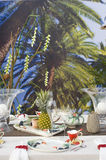 Modern table setting on beach stock images