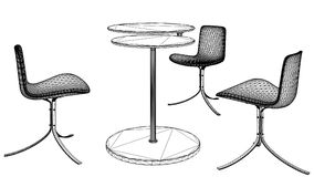 Modern Table and Three Armchairs Vector 05 Stock Photography