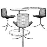 Modern Table and Three Armchairs Vector 06 Stock Images