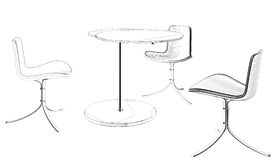 Modern Table and Three Armchairs Vector 07 Royalty Free Stock Image