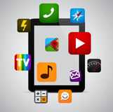 Modern tablet with apps. Vector concept communicator with app icons. Eps10 Stock Image
