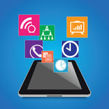 Modern tablet with business icons set Stock Photography