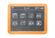 Modern tablet computer drawn on a chalkboard tablet Stock Images
