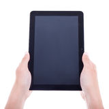 Modern tablet pc with blank screen in male hands isolated on whi Stock Photo