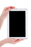 Modern tablet pc with empty copyspace screen in female hands iso Royalty Free Stock Photography