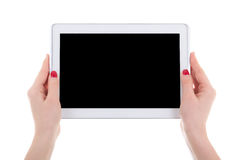 Modern tablet pc with empty screen in female hands isolated on w Royalty Free Stock Image