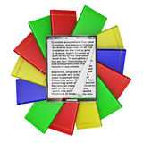 Modern tablet. With text inside on a background of colorful books Royalty Free Stock Photos
