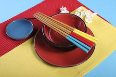 Modern take on traditional Japanese oriental place setting Stock Photo