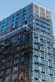 A modern tall building in Downtown Brooklyn, still under construction, New York City, NY, USA stock photo