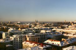 Modern Tallinn, Estonia. Panorama of Modern and Old Tallinn in Estonia. View from 16th floor. Tower of the Toompea Castle in the right side. Alexander Nevsky stock photos