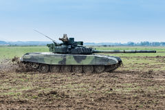 Modern tank on battle field Royalty Free Stock Photo