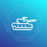 Modern tank icon, heavy armoured combat vehicle. Modern tank line icon, heavy armoured combat vehicle Stock Images