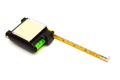 Modern tape measure with the level Stock Photo