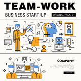Modern team work pack. Thin line icons business works. Royalty Free Stock Photography