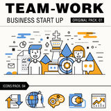 Modern team work pack. Thin line icons business works. Royalty Free Stock Photo