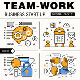 Modern team work pack. Thin line icons business works. Stock Photos
