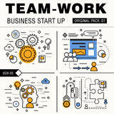 Modern team work pack. Thin line icons business works. Stock Image