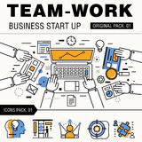 Modern team work pack. Thin line icons business works. Stock Photography