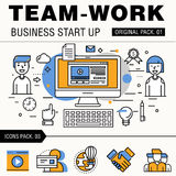 Modern team work pack. Thin line icons business works. Royalty Free Stock Images