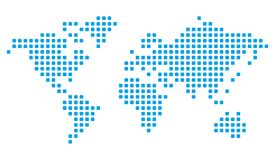 MODERN TECH BLUE WORLD MAP. ROUNDED SQUARE , INTERNET TECHNOLOGY, COMPUTER FUTURE COMPANY Royalty Free Stock Image