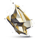 Modern technical deformed construction, abstract 3d. Figure with lines mesh. Sharp cybernetic object royalty free illustration