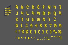 Modern technical display font Metric. Set all letters and numbers with characters. Royalty Free Stock Photography